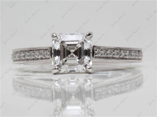 Platinum 1.20 Asscher cut Diamond Pave Rings