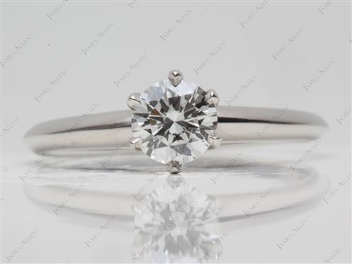 Platinum 0.70 Round cut Solitaire Ring
