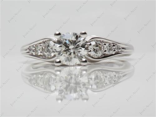 White Gold 0.70 Round cut Engagement Rings Side Stones