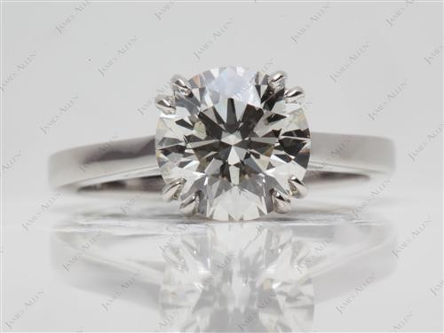 Platinum 2.50 Round cut Solitaire Ring Settings