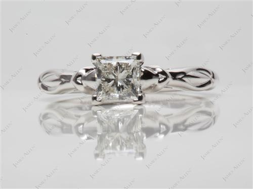 White Gold 0.73 Princess cut Solitaire Engagement Rings