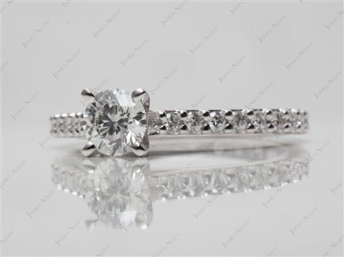Platinum 0.43 Round cut Engagement Rings