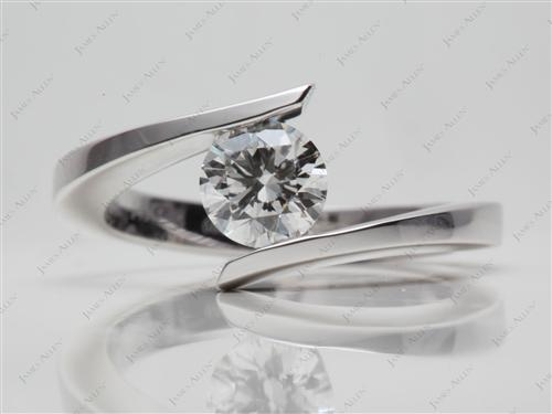 White Gold 0.70 Round cut Tension Diamond Engagement ring