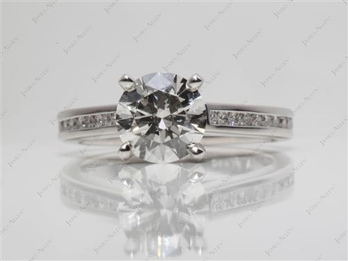 Platinum 1.50 Round cut Channel Set Engagement Rings