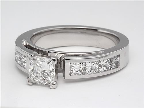 White Gold 0.73 Princess cut Diamond Rings