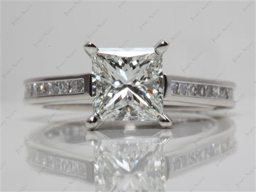 Platinum 1.55 Princess cut Channel Set Diamond Ring