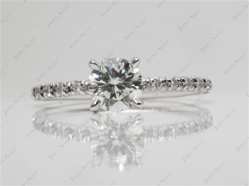 White Gold 0.69 Round cut Diamond Pave Ring