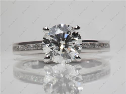 Platinum 2.16 Round cut Channel Engagement Ring