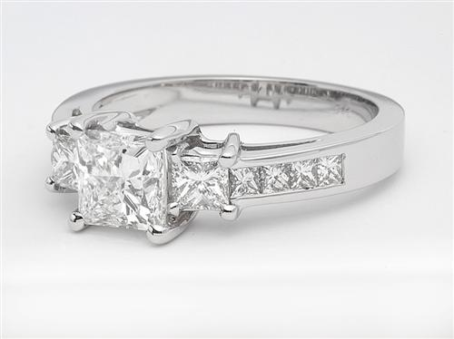 White Gold 1.05 Princess cut Diamond Ring With Sidestones