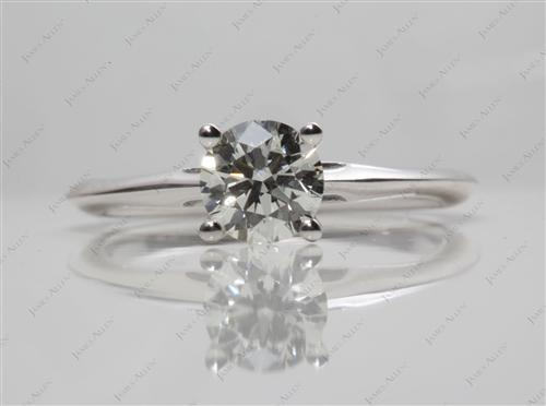 White Gold 0.78 Round cut Diamond Solitaire Ring Settings