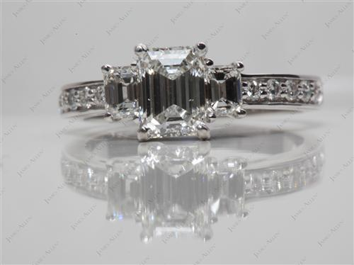 White Gold 1.01 Emerald cut Three Stones Rings
