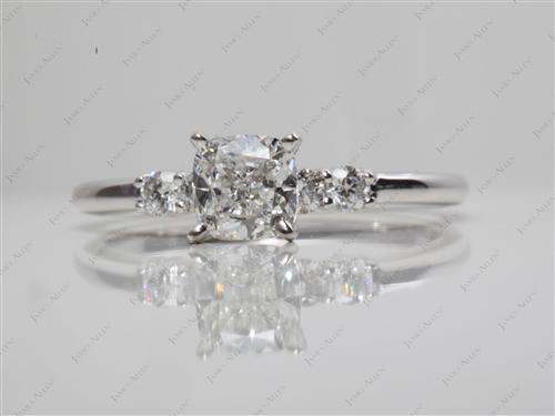 White Gold 0.81 Cushion cut Diamond Rings