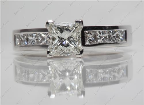 White Gold 1.13 Princess cut Channel Set Diamond Engagement Rings