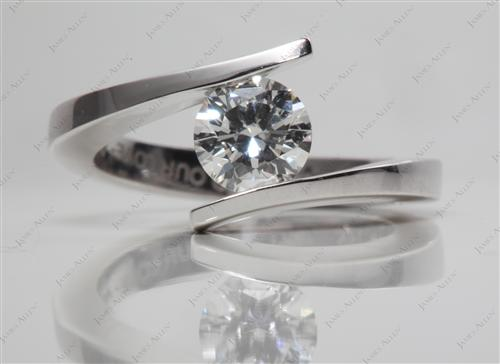 White Gold 0.80 Round cut Tension Diamond Rings