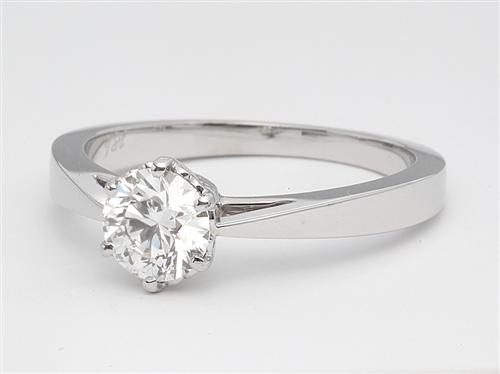 White Gold 0.71 Round cut Solitaire Engagement Ring