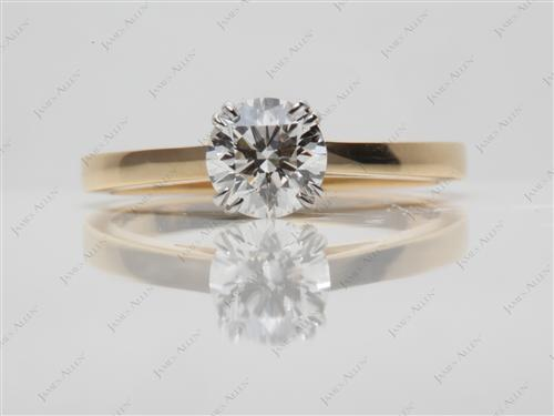 Gold 0.90 Round cut Diamond Solitaire Engagement Ring