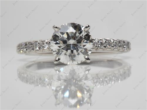 Platinum 1.08 Round cut Pave Ring Settings