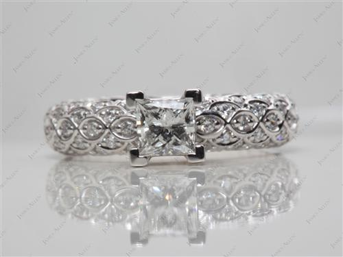 White Gold 0.59 Princess cut Micro Pave Engagement Rings