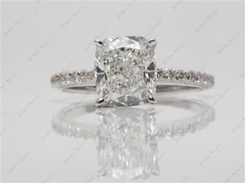 White Gold 2.42 Cushion cut Pave Diamond Engagement Ring