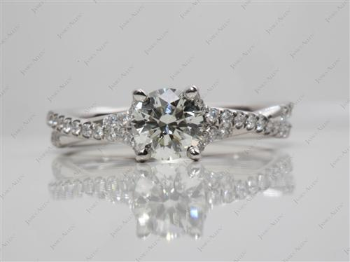 Platinum 0.73 Round cut Pave Diamond Engagement Rings