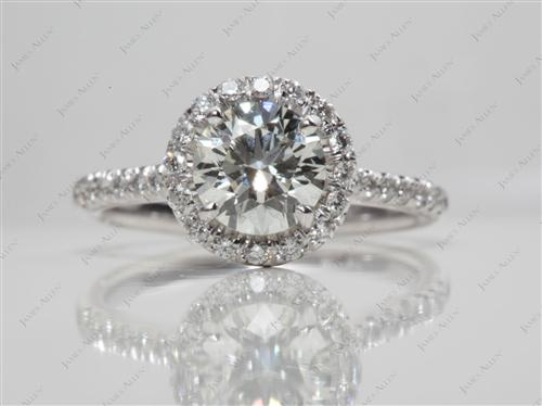 White Gold 0.91 Round cut Diamond Pave Ring
