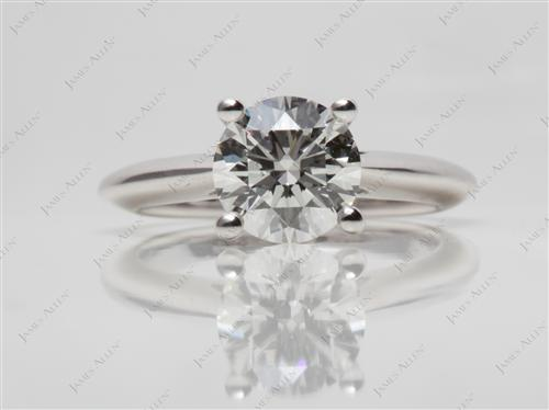 White Gold 1.56 Round cut Solitaire Diamond Rings