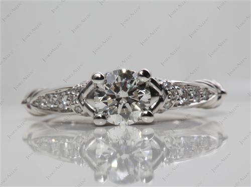 Platinum 0.70 Round cut Engagement Rings Pave