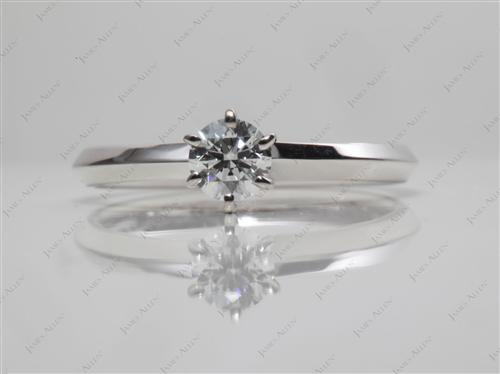 White Gold 0.26 Round cut Diamond Solitaire Ring Settings