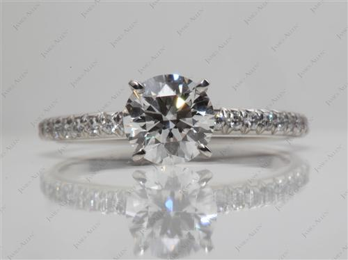 Platinum 1.08 Round cut Pave Diamond Rings