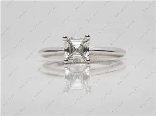 White Gold 1.05 Asscher cut Engagement Ring