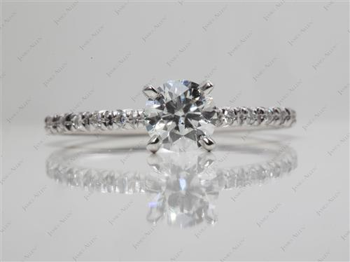 White Gold 0.71 Round cut Micro Pave Engagement Rings