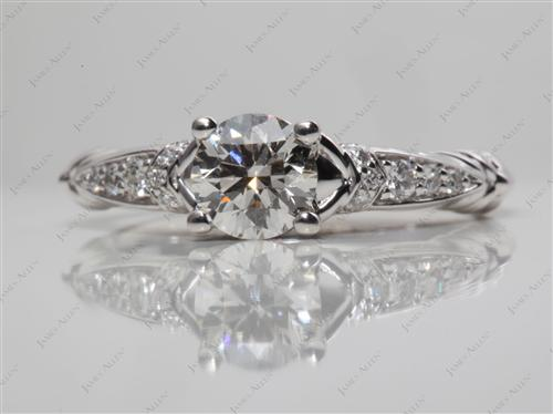 White Gold 0.72 Round cut Micro Pave Engagement Rings
