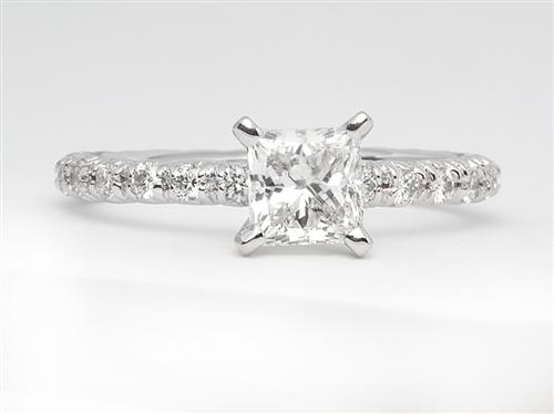 White Gold 0.76 Princess cut Engagement Rings Pave