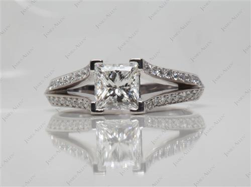 White Gold 1.02 Princess cut Pave Rings