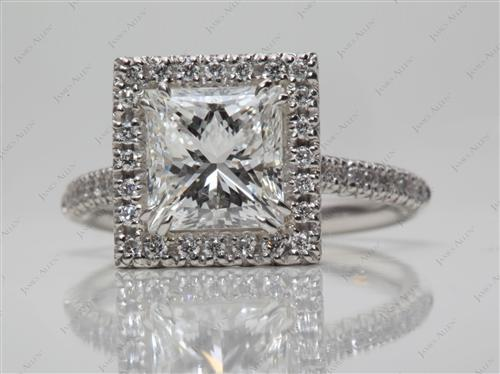 Platinum 2.15 Princess cut Pave Diamond Engagement Rings