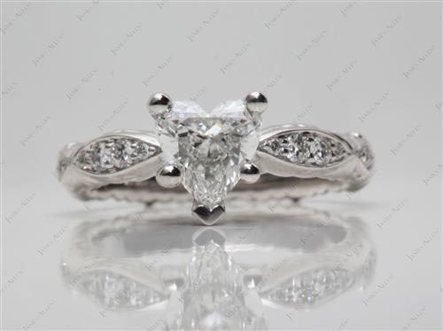 Platinum 1.00 Heart shaped Pave Engagement Rings