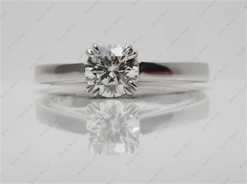 Platinum 0.60 Round cut Solitaire Diamond Ring