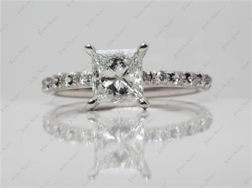 Platinum 1.13 Princess cut Engagement Rings