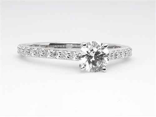 White Gold 0.60 Round cut Diamond Ring With Side Stones