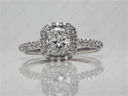 Platinum 0.87 Cushion cut Pave Ring Setting