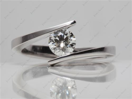 White Gold 0.75 Round cut Tension Diamond Ring