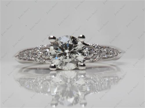 White Gold 0.78 Round cut Pave Ring Setting