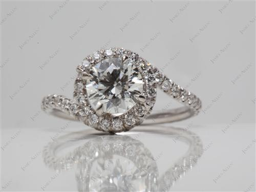White Gold 0.90 Round cut Micro Pave Diamond Ring