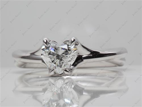 White Gold 0.79 Heart shaped Diamond Solitaire Ring Settings