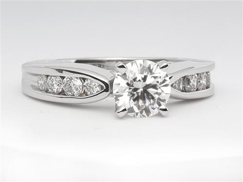 White Gold 0.70 Round cut Diamond Ring With Side Stones