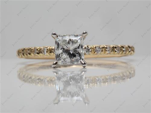 Gold 0.74 Princess cut Micro Pave Rings