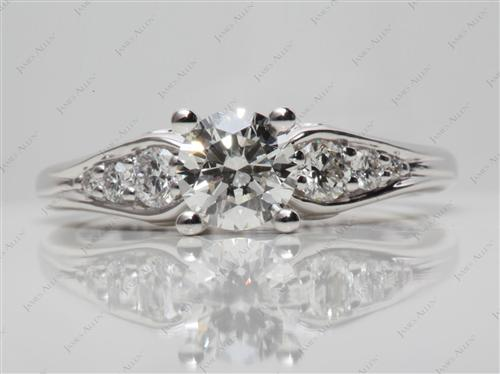 White Gold 0.80 Round cut Engagement Ring With Sidestones