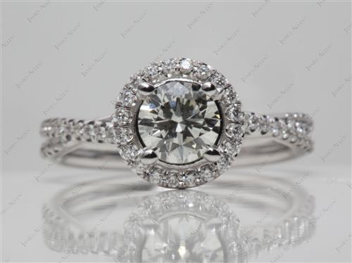 White Gold 0.84 Round cut Diamond Pave Rings