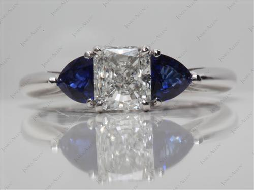 White Gold 0.72 Radiant cut Gem Stone Engagement Ring