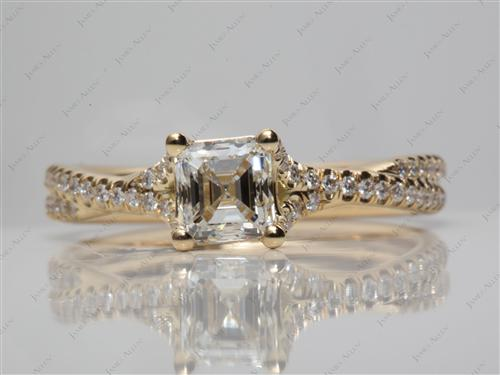 Gold 1.02 Asscher cut Pave Setting Rings
